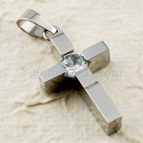 Stainless Steel Cross with Rhinestone Pendant - (1) one