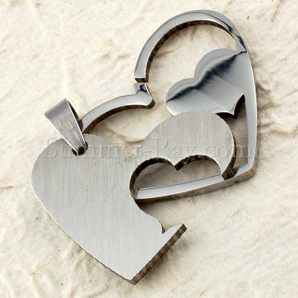 Stainless Steel Double Heart Pendant - (1) one