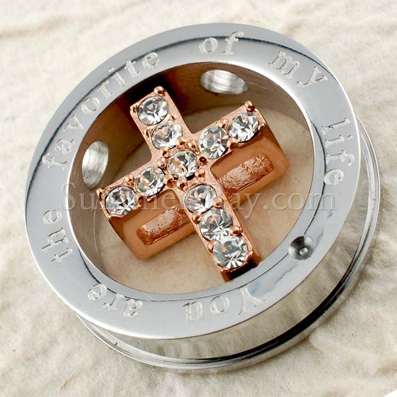 Stainless Steel Encased Cross Pendant - (1) one