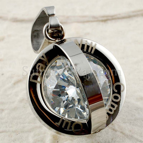 Stainless Steel Encased Diamond Pendant - (1) one