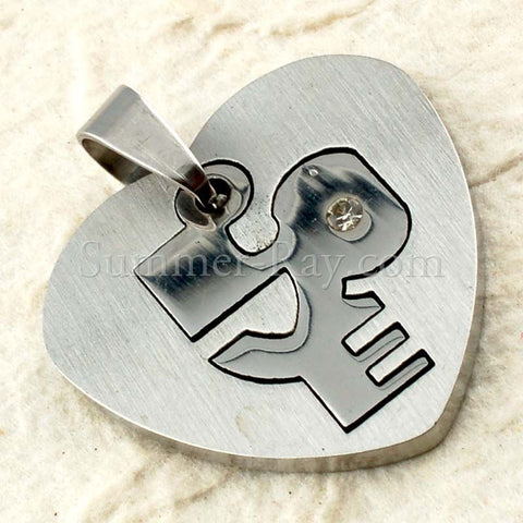 Stainless Steel Heart with Love Pendant - (1) one