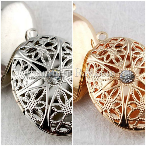 Oval Photo Lockets with Rhinestones