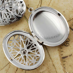 Oval Photo Lockets with Rhinestones - White Gold Plated