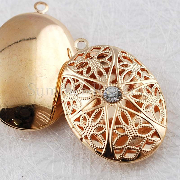 Oval Photo Lockets with Rhinestones - Gold Plated