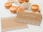 White Printed Lace Place Cards Escort Cards for Weddings and Parties