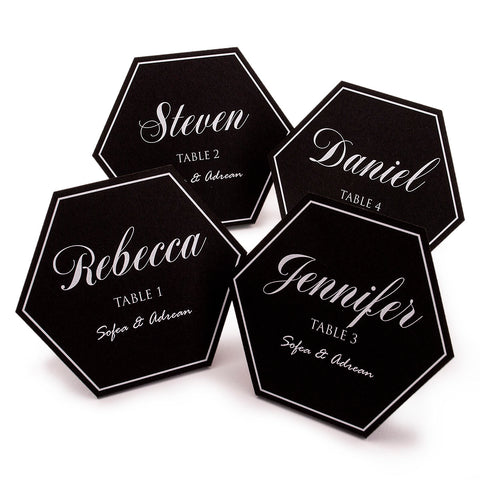 Personalized Black Hexagon Wedding Place Cards Escort Cards with White Rim