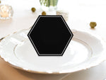 Black Hexagon Wedding Place Cards Escort Cards with White Rim