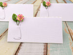 Handmade White Wedding Botanical Place Cards Escort Cards with Mulberry Flower & Leaf