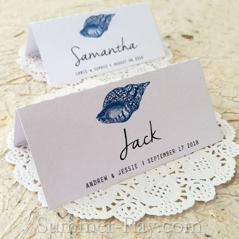 Personalized Beach Themed Gastropod Shell Wedding Place Cards/Seating Cards