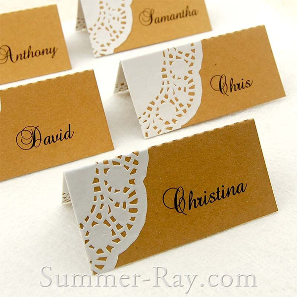 DIY Personalized Doily Kraft Place Cards for Rustic Hessian Wedding/Party