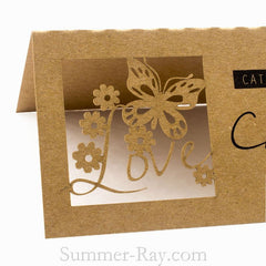 Personalized Laser Cut Natural Brown Kraft Wedding Place Cards/Seating Cards