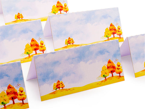 Fall Watercolor Scenery Party Place Cards Seating Cards Escort Cards