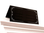 Black Modern Wedding Place Cards with White Rim Seating Cards Escort Cards