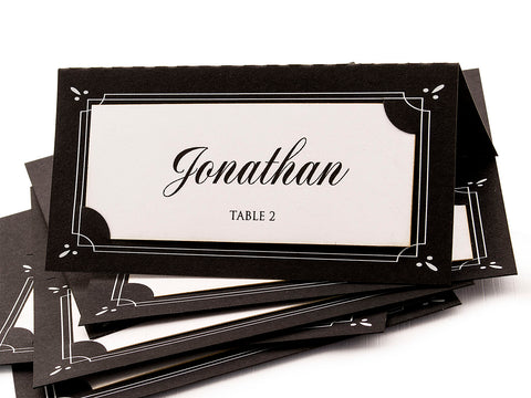 Personalized Double Layer Black & White Wedding Modern Place Cards Escort Cards Seating Cards