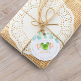 Personalized Baby Shower Ready to Pop Favor Gift Tags with Mixed Color Rhinestones