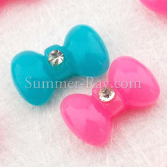 Cabochon Resin Bows with Rhinestone