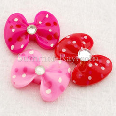 Cabochon Resin Spotted Bows with Rhinestone