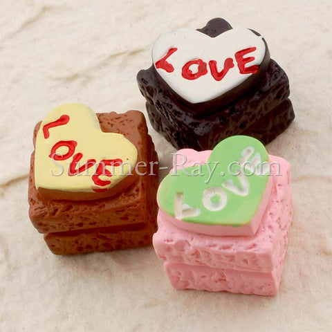 Cabochon Resin Square Love Cake