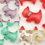 Cabochon Resin Dog with Rhinestones