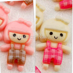 Cabochon Resin Doll in Dungarees