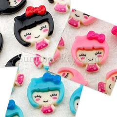 Cabochon Resin Doll with Bow