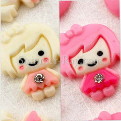 Cabochon Resin Doll with Rhinestone