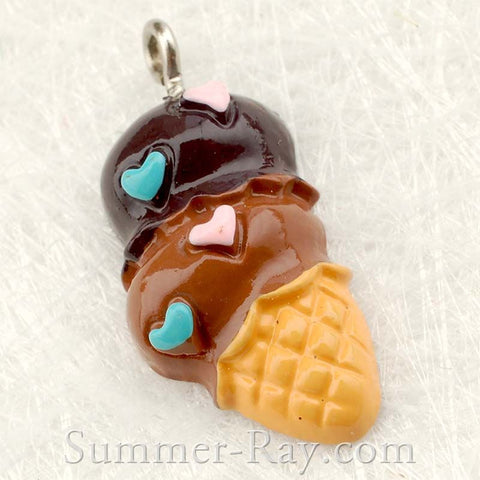 Cabochon Resin Double Scoop Ice Cream with Eye Bolt
