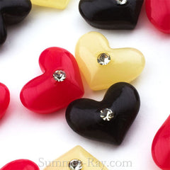 Cabochon Resin Heart with Rhinestone