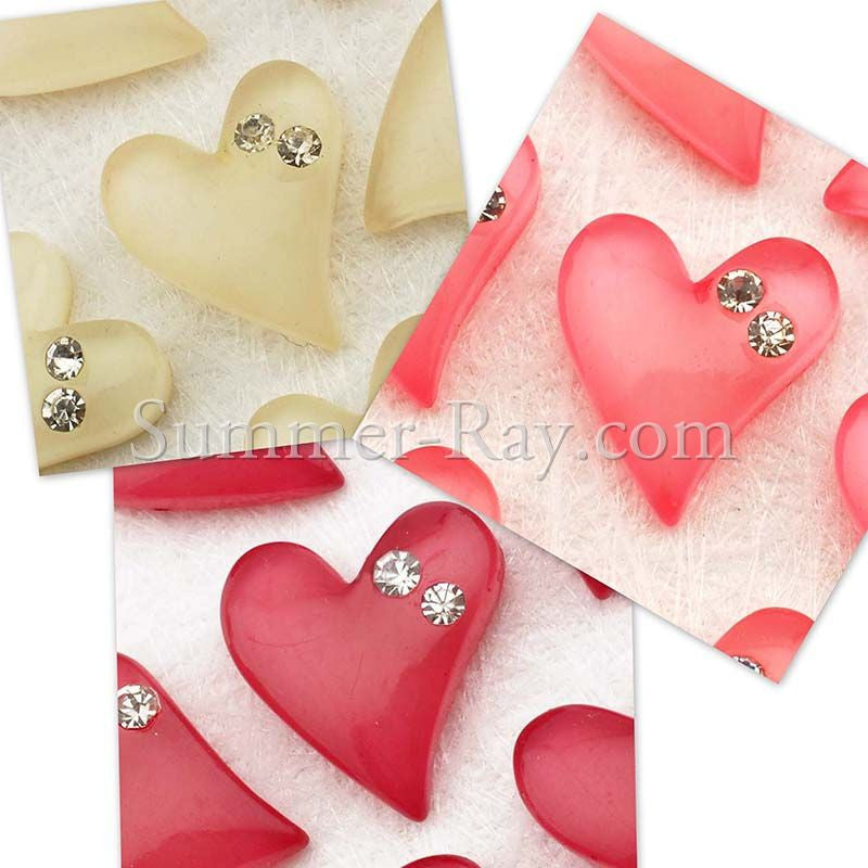 Cabochon Resin Heart with Rhinestones