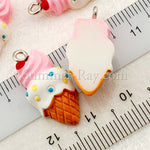 Cabochon Resin Ice Cream Cone with Eye Bolt
