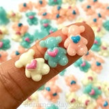 Cabochon Resin Mini Teddy Bear with Heart