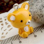 Cabochon Resin Sitting Teddy Bear with Eye Bolt