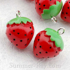 Cabochon Resin Strawberry with Eye Bolt