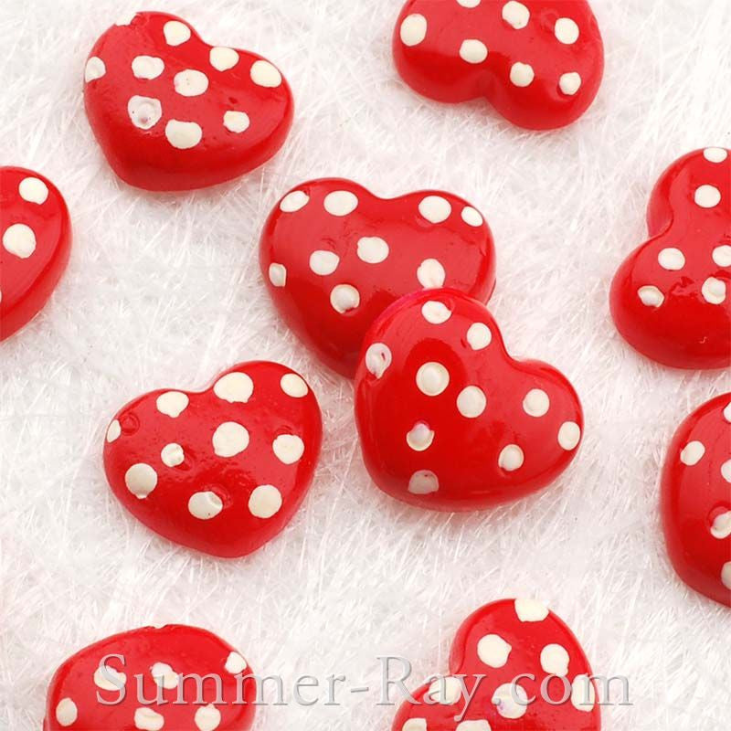 Cabochon Resin Red Swiss Dot Heart