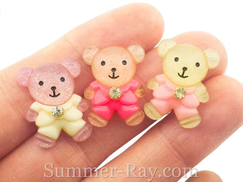 Cabochon Resin Teddy Bear in Coat