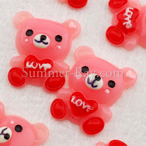 Cabochon Resin Teddy Bear Love