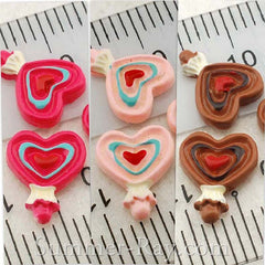 Cabochon Resin Heart Lollipop