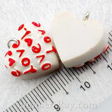 Cabochon Resin White Heart with Eye Bolt