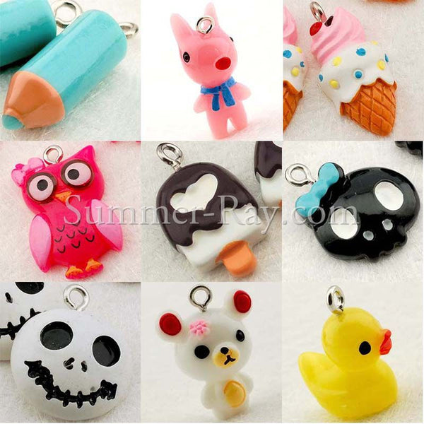 Cabochon Resin Mixed Owl/Ice Cream/Skull Head/Pencil/Bear/Dog/Rubber Duck with Eye Bolt