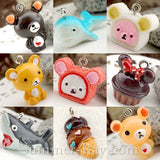 Cabochon Resin Mixed Teddy Bear/Cupcake/Whale/Shark/Ice Cream Cone with Eye Bolt