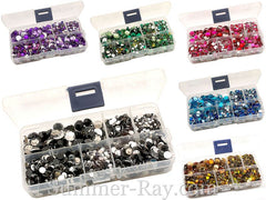 Mixed Size Rhinestones in Storage Box - 3 mm 4 mm 5 mm 6 mm 7 mm and 10 mm