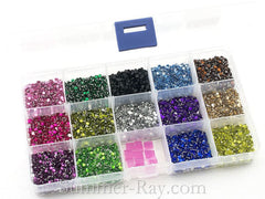 Rhinestones 3mm Mixed Color in Storage Box - 9800 pieces