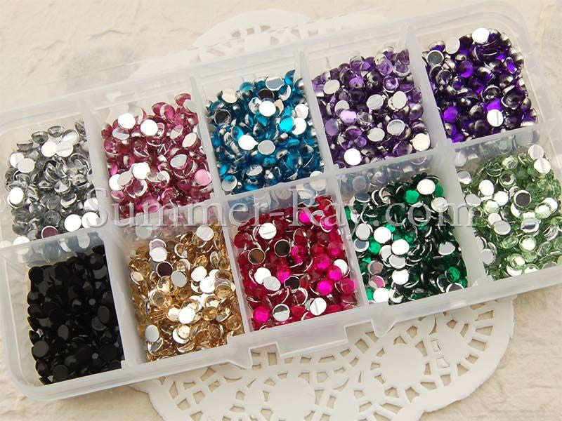 Rhinestones 4mm Hemisphere Mixed Color in Storage Box - 2000 pieces