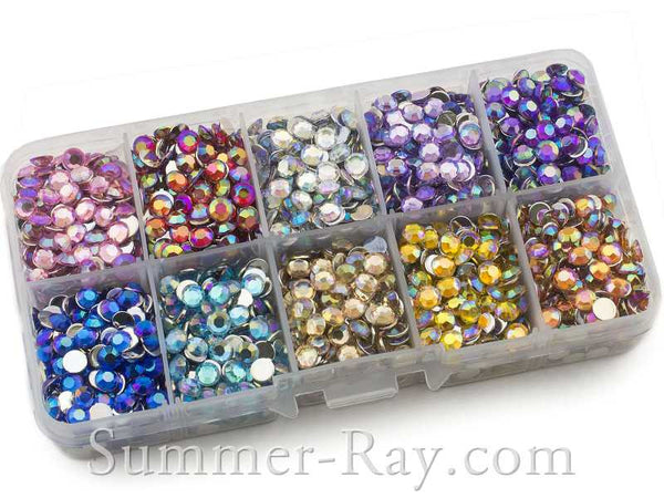 Rhinestones 5mm AB Mixed Color in Storage Box - 3000 pieces
