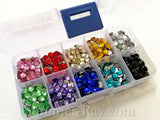 Rhinestones 6mm Globe Cut Mixed Color in Storage Box - 1000 pieces