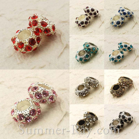 Rhinestone Studded Metal Bead Rondelle - 2 or 10 pieces