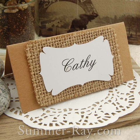 Personalized Kraft & Burlap Place Cards for Rustic Hessian/Country Chic Wedding