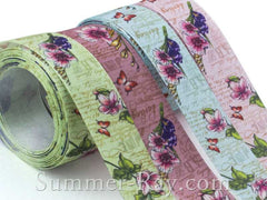 Vintage Floral Printed Satin Ribbon 25 mm - 20 yards