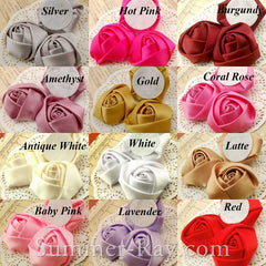 Miniature Satin Roses 15mm 20mm 30mm 38mm 45mm - 25 pieces