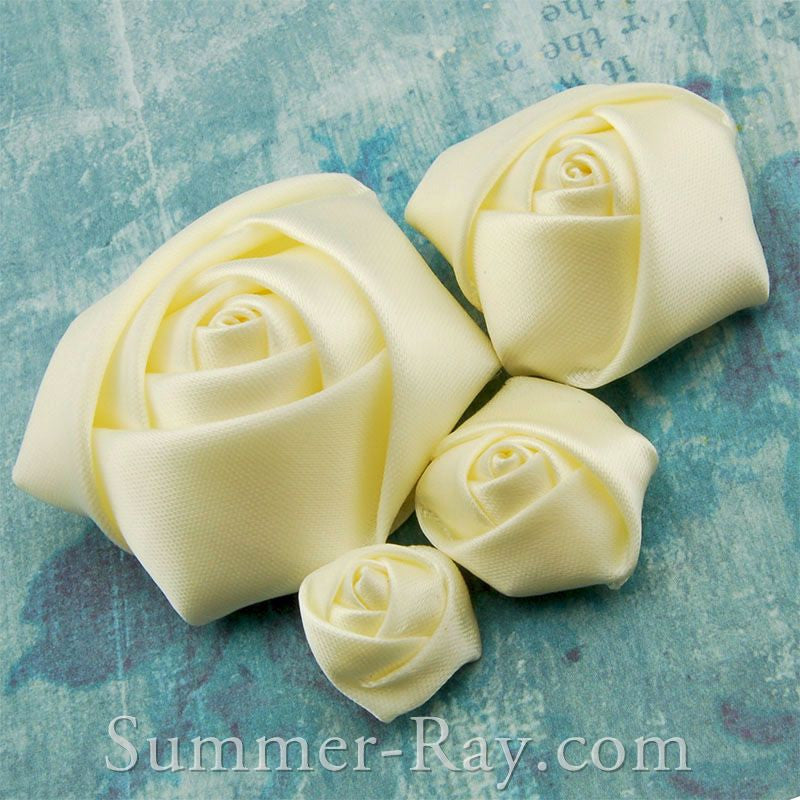 Miniature Antique White Satin Roses Mixed Size - 40 pieces